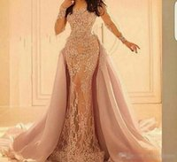 Wholesale size 16 champagne bandage skirt - New Arrival Mermaid Evening Dresses 2017 with Long Sleeve Lace Appliques Detachable Skirt Chapel Train Organza Evening Gowns Arabic