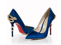 Wholesale New dark blue pointed shallow snake with high heels Sha Sha fashion banquet shoes metal and fashion shoes