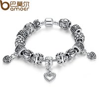 Wholesale Antique Wedding Jewelry Sets - Pandora Style Antique Silver Charm Bracelet & Bangle Silver 925 With Heart Pendant for Women Wedding Vintage Jewelry