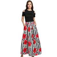 siyah çiçek tunik toptan satış-Yeni İki Adet Kadınlar Maxi Elbiseler Uzun Desen Çiçek Baskı Elbise Siyah Üst Artı Boyutu 4XL Vestidos Bayanlar Yaz Tunik