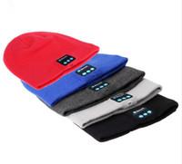 kış kulaklıkları toptan satış-Bluetooth Bere Şapka Kulaklıklar Yıkanabilir Kış Örgü Cap ile Stereo Bluetooth Kulaklık Kulaklık Hoparlörler iPhone Samsung Android için Mic