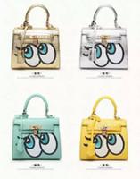 projeto bonito bolsa venda por atacado-Novo Design de Venda Quente de Alta Qualidade Bonito Big Eye Handbag Desenhador Padlock Couro Messenger Moda de Luxo Mulheres Bolsa de Ombro