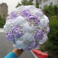 Wholesale white flower lilacs resale online - Lilac and White Wedding Bridal Bouquets Wedding Supplies Artificial Flower Pearls Rhinestones Sweet Quinceanera Bouquets W224 T