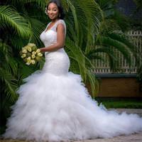 Wholesale Trumpet Mermaid Style Wedding Dresses - 2018 African Styles White Beading Tiered Mermaid Wedding Dress Custom-made Plus Size Wedding Gown Brides Vestido De Noiva