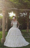 2018 Elegant White Lace Jewel Ballkleid Kapelle Zug Brautkleider Spitze Appliques Sleeveless Zipper Plus Size Brautkleider Stil