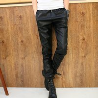 Wholesale Fly Jazz - Wholesale- 2016 autumn fashion brand men's clothing mens trousers male black gold pu leather patchwork leather pants jazz dance leather pan
