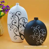 Wholesale Shoe Flower Vases - 2044 Romantic Rhynchophylla Applique Low Temperature Flower Matte Ceramics Vase Arts And Crafts