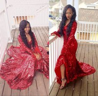 Wholesale U Delivery - 2K17 Red Sequin Prom Dresses U Neck Poet Long Sleeve 8th grade graduation dresses sweet 16 party dresses evening gowns fast delivery
