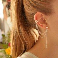 Wholesale young women jewelry - 1piece Punk Rock Style Woman Young Gift Leaf Chain Tassel Earrings, Metallic Gold And Silver Jewelry Earrings Ear Clip Wholesale
