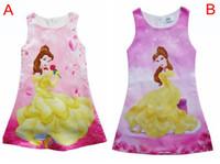 Wholesale Chinese Silk Velvet - 2017 New Girls Belle Dresses Beauty and the beast Children Princess Dress Sleeveless Baby Clothing Kids Girls Cartoon Party Dresses