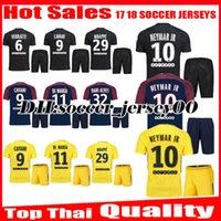 Wholesale Uniform T Shirts - 2017 2018 NEYMAR JR Soccer Jersey kits CAVANI VERRATTI LUCAS DI MARIA MATUIDI T SILVA DRAXLER DANI ALVES PSGER 17 18 football shirt uniform