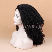 Wholesale Blue Baby Wig - Soft Afro Curly Synthetic Lace Front Wig Heat Resistant Fiber Hair Wigs with Baby Hair Synthetic Curly Wigs for Black Women
