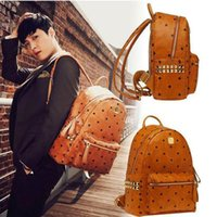 Wholesale Black Stud Bag - 2017 Spring Stark Stud Visetos Backpack Medium Size Cognac (Brown) Color Side Rivets Shoulder Bag size for 41*35*15cm