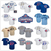 Wholesale Addison Russell - 2016 World Series Champions Patch Chicago Cubs #27 Addison Russell Flex Base White Blue Gray Gold MLB Baseball Jerseys Free Shipping