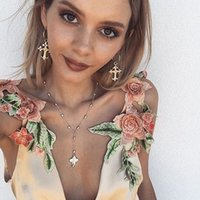 Wholesale Mini Chiffon Flowers - Summer New Women Printed Silk Dress Embroidery Flower Flounces Braces Skirt Sexy Deep V Neck Sleeveless Party Dress