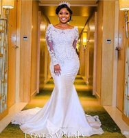 Wholesale white lace nigerian dress resale online - 2018 Nigerian Mermaid Wedding Dresses Sweetheart Beaded Lace Appliqued Long Sleeves Chapel Train Length African Black Girl Bridal Gowns