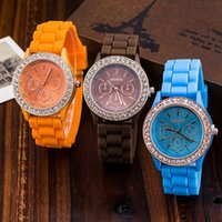 Wholesale Mens Colorful Sport Watches - 2017 Luxury Fashion Geneva Watch Crystal Diamond Wristwatch Colorful Jelly Rubber Silicone sport Watch Quartz Mens Watches