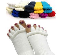 Wholesale Sleeping Massage Toe Socks - Women Five Toes Yoga Socks Winter Thicken Massage Toe Sleep Manicure Correction Cotton Superelastic Socks b609