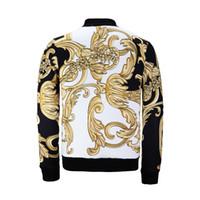 Wholesale Baroque Prints - 3D Print Baroque Jacket Men 2017 Autumn Streetwear Printed Space Cotton Hiphop Jackets Men Women Men's Clothing