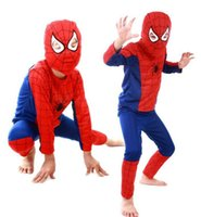 Wholesale black spiderman costume children - Kid Super Hero Children Theme Party Costume Spiderman Superman Clothing Halloween Boys Girls Dress Up Cosplay Costume