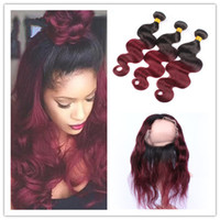 Wholesale Red Hair Wefts - #1B 99J Ombre 360 Lace Closure With 3Bundles Dark Roots Wine Red Brazilian Body Wave Hair Wefts With 360 Band Full Lace Frontal