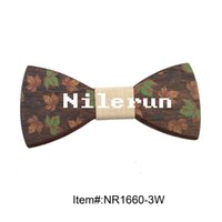 Wholesale Iron Man Left - Vintage casual style beige fabric maple leaves printed wenge wood bow tie suitable for all kinds of parties