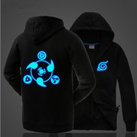 Wholesale One Piece Thick - Naruto One Piece Hoodie New Anime Uchiha Sasuke Cosplay Coat Uzumaki Naruto Jacket Winter Men Thick Luminous Sweatshirts