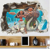 Wholesale Wall Decal Sea - Cartoon Movie Moana Maui Vaiana Wall Sticker For Kids Rooms 3d Effect Wall decals children PVC Art Decals Children's Room Decor