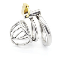 Wholesale Stainless Male Cage - Male Chastity Device Stainless Steel Metal Cock Rings Penis Cage BDSM Sex Toys For Men Chastity Devices Cock Cages