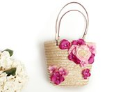 Wholesale Ladies Hand Korea Bag - South Korea holiday travel ladies hand straw grass knit bag   flower set square package trendy beach bag