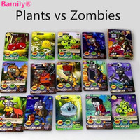 Wholesale Plants Vs Zombie Figure Set - [Bainily]100pcs set Plants VS Zombies Cards Plants Zombies War Action Figures Collect Game Card Pea Shooter Sunflower Kids Toys