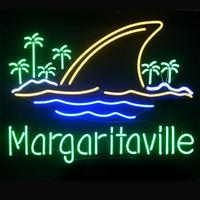 Wholesale margaritaville neon resale online - Fashion Hanscraft Margaritaville Shark It s O clock Somewhere Real Glass Beer Bar Display Neon Sign24x20