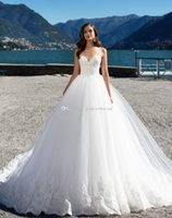 Wholesale Rich Wedding Dresses - Lovely spaghetti ball gown wedding dresses 2017 Milla nova bridal wedding gowns rich beaded bodice and lace appliques on bottom chapel train