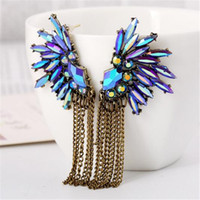 Coréia Angel Wing Feather Shape Purple Crystal Earrings Designs Moda 2017 para mulheres Corrente Tassel Earrings Girls Christmas Gift