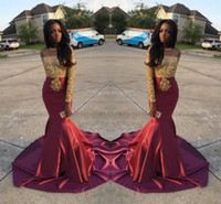 black and white formal gowns - Charming African Style Off Shoulder Prom Dresses Gold And Burgundy Evening Gowns For Black Girls Long Sleeve Sweep Train Formal Dresses