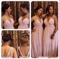 Wholesale Transparent Backless Sequin Dress - New Plus Size Pleated Deep V Neck Crystal Chiffon Transparent Long Bridesmaid Dress Prom Gown Wedding GUEST Dress Criss Cross Straps Beaded