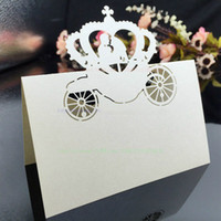 Vente en gros-50PCS Party Invitation Décorations Table Cartes, Cendrillon Citrouille Car Seat Place Nom Card Laser Cut Paper mariage Fournitures