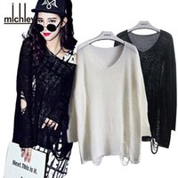 Wholesale Women Loose Fitting Sweaters - Wholesale- MICHLEY Women's Batwing Sweaters Destroyed Ripped Slouchy Sweater Pullover Hollow Out Loose Fit Jumper Tops Knitwear top5091