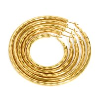 Wholesale Earring Big For Party - mixed order 5 sizes mixed 4,5,6,7,8cm big hoop earrings 18k gold plated large hoop earrings for women #011Y
