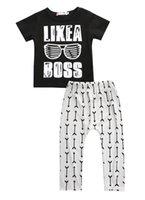 hosengläser großhandel-Großverkauf - Babykleidung 2016 Sommerkinderkleidung stellt T-Shirt + Hosenanzugkleidung ein Satz Gläser gedruckte Kleidung neugeboren