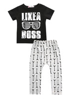 Wholesale kids shirts glasses - Wholesale- Baby boy clothes 2016 summer kids clothes sets t-shirt+pants suit clothing set Glasses Printed Clothes newborn