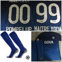 Wholesale Men Sport Socks Set - 2016 2017 Boca Juniors soccer uniforms men's short sleeve thai quality soccer jerseys+Socks Boca blue football wear soccer kit sport sets