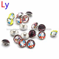 Wholesale Kids Silver Jewelry Sets - 50pcs lot Mixed Colors Kitty Cat 12mm snap button Jewelry Faceted glass Snap Fit Kids snap Bracelet Jewelry NR0088