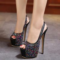 Wholesale Black Satin Platform Pumps - Elegant Sling Back Blue Satin Rhinestone Shoes Women Super High Heels Platform Peep Toe Pumps 2017 Size 35 To 40