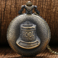 Wholesale-Antique Pocket Watch Hells Bell Pattern Pocket Fob Montre Avec Pendentif Chaîne Montre Homme P447