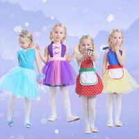 Wholesale Costume White Apron - Girls Snow White Belle Rapunzel Princess Apron TuTu Dress Dot Tulle Lace Up Bubble Skirts Cosplay Costume Pinafore Dresses