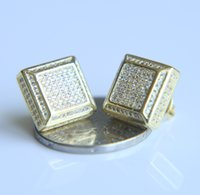 Wholesale Allergic Gold Plated Jewelry - Fashion Mens square Stud Earrings gold filled Cubic CZ Earring for women wedding jewelry 2017 s925 Earrings earpins Not allergic