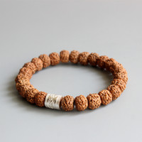 Wholesale Wholesale Gold Seed Beads - Wholesale- 2016 New Fad Natural Rudraksha Seed Tibetan Buddhism Prayer OM Healing Mala Beads Bracelet For Men Women Yoga Jewelry Wholesale