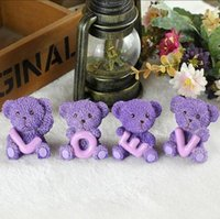 Wholesale Draw Teddy - 2017 new fashion Selling cute Cartoon Valentine's Day gift car decoration crafts resin LOVE Purple teddy bear