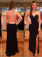 pron pictures - Black Long Evening Dresses High Neck Sexy Backless Banded Crystal Side Slit Sweep Train Formal luxury Pron Gowns